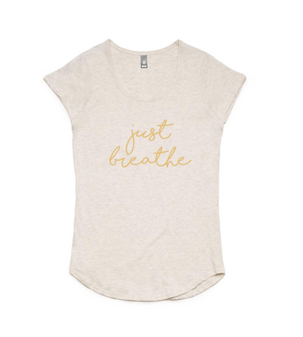 Just Breathe Oatmeal T-shirt Honey Script