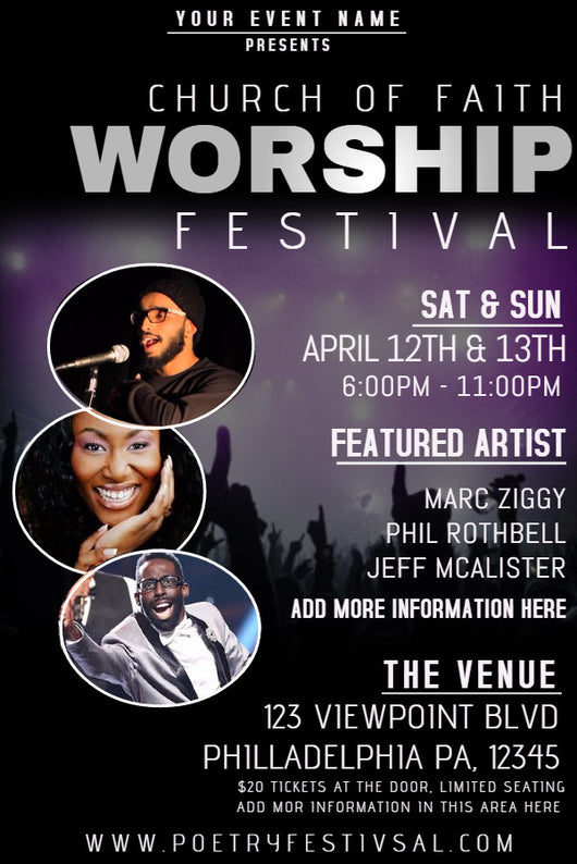 Worship Festival Flyer - Book Trailers for your books!
