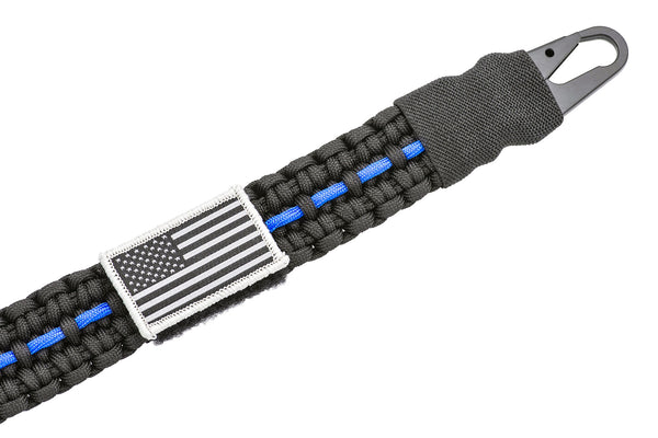 AR Paracord Gun Sling | 1-Point to 2-Point with HK Style Clips | Thin Blue Line-Ace Two Tactical
