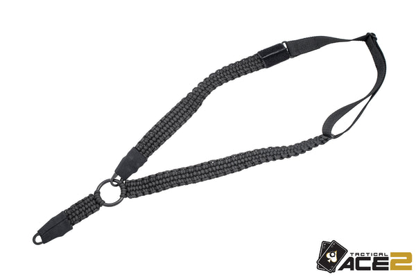 AR Paracord Gun Sling | 1-Point to 2-Point with HK Style Clips | Black-Ace Two Tactical