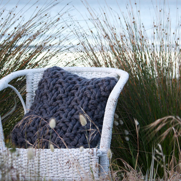 Palm Beach Hand Knitted Cushion - The Oyster