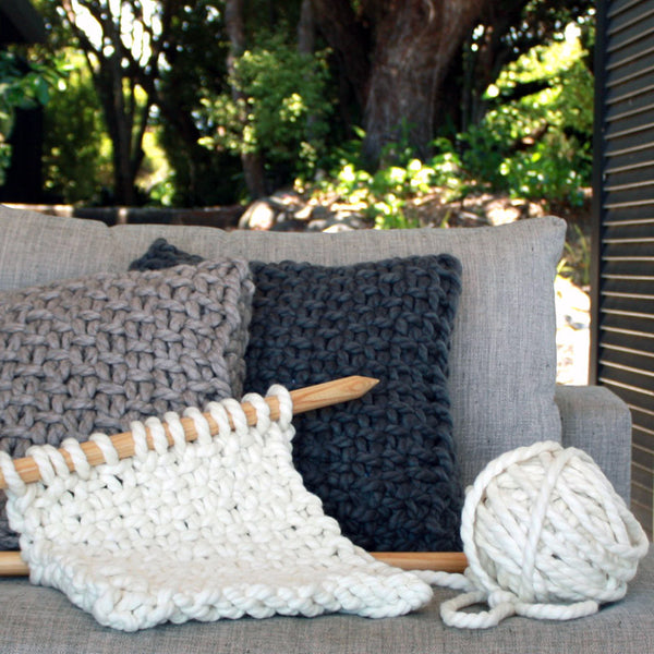Palm Beach Hand Knitted Cushion - The Kete