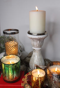 White Mercury Glass Pedestal Candle Holder