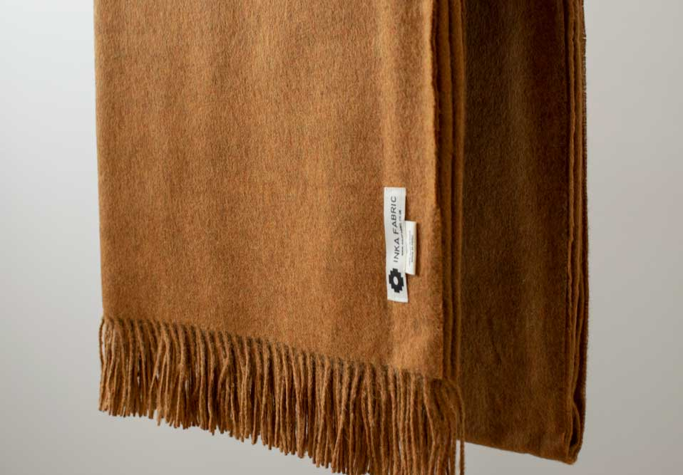 Blanket made of Peruvian alpaca wool super soft and hypoallergenic, colour mustard. Price £160.00