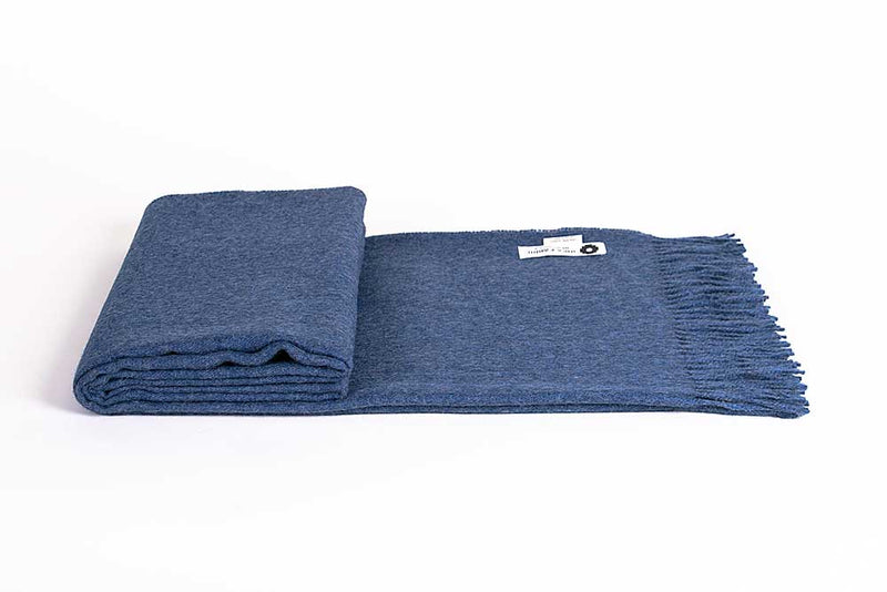 BABY ALPACA BLANKET - DENIM BLUE