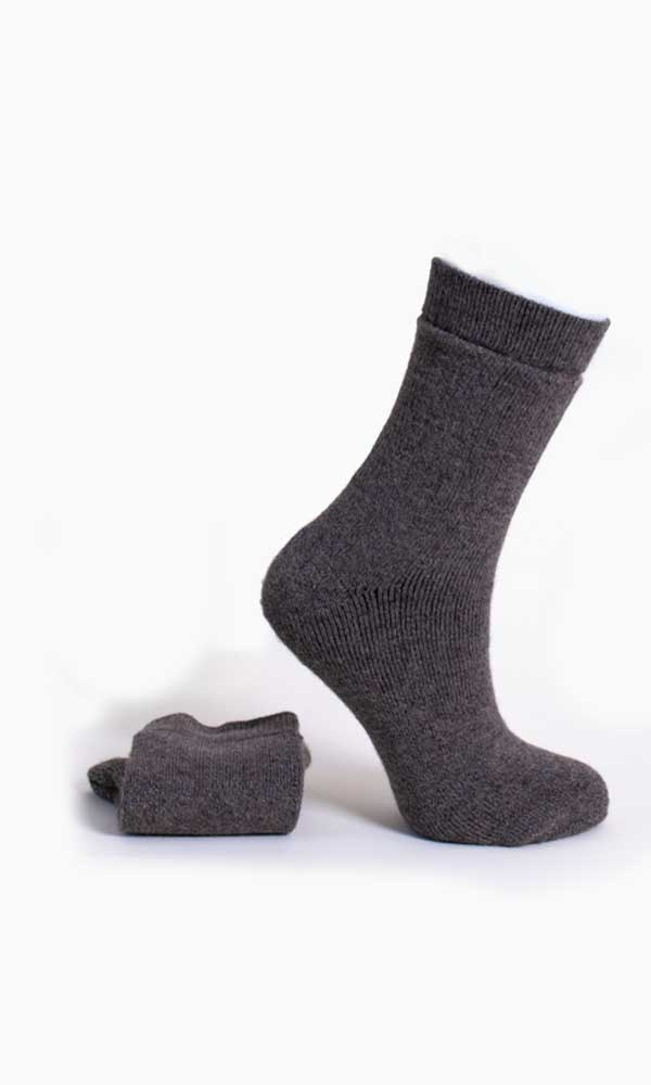 Grey alpaca socks for hiking