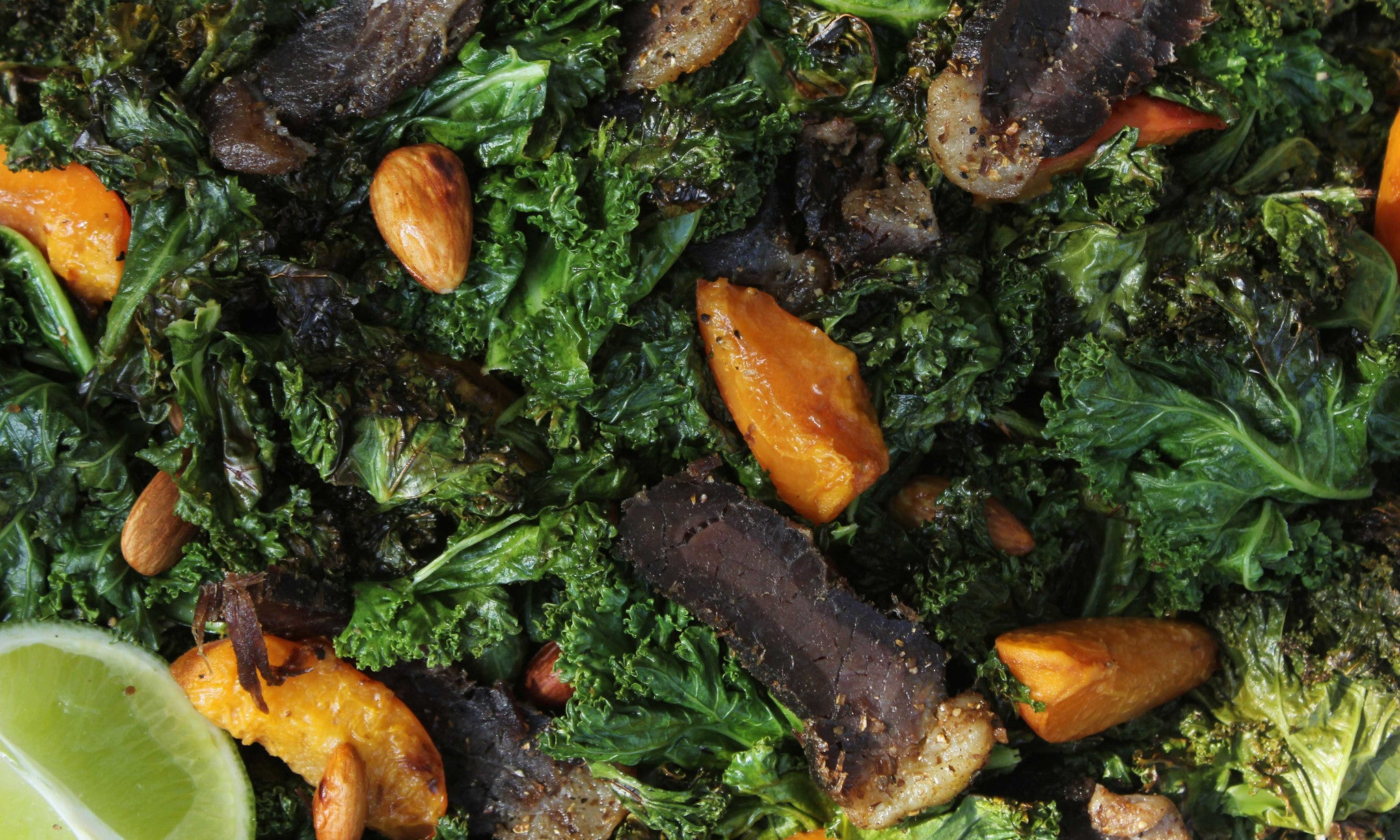 Lime Coated Pan-Fried Kale, Biltong, & Fruit