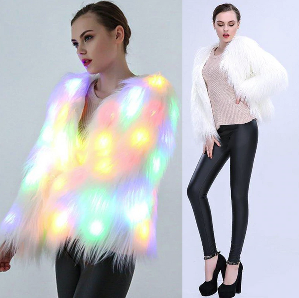 Women Faux Fur LED Party Coat