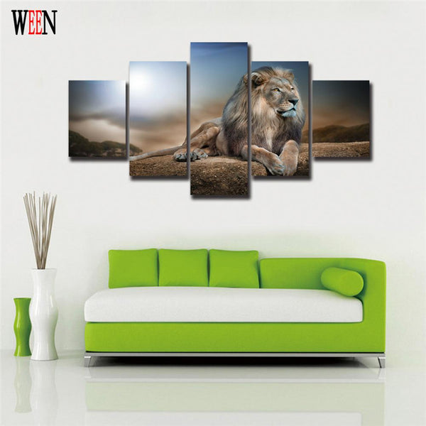5 Piece HD Canvas Majestic Lion
