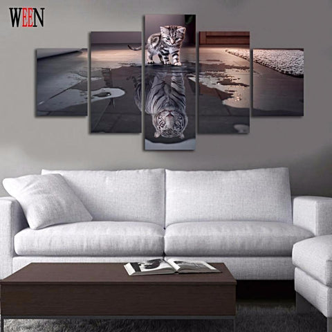 5 Piece HD Canvas Kitty and Tiger