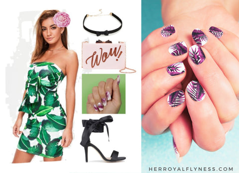 Palm print outfit with Jungle palms Nail art designs