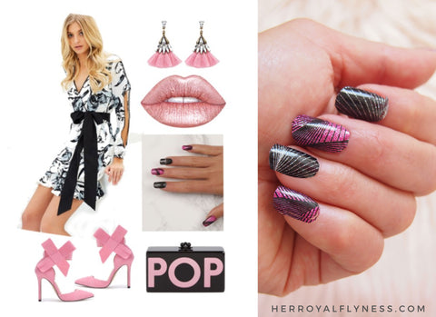Race day Pink and white outfit with Black and pink glitter nail art