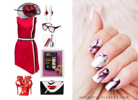 Race Day Outfit and white nail art