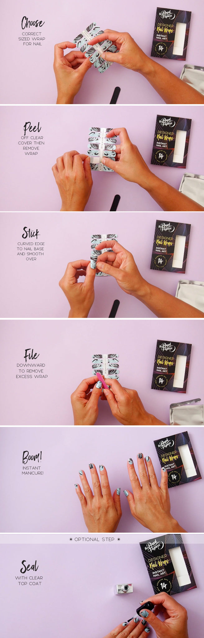 How to apply Her Royal Flyness Nail wraps
