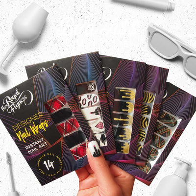 Nail Wraps - Her Royal Flyness Bad A Nail Art Wraps Bundle, white nail art, gold black glitter nails, plaid nails