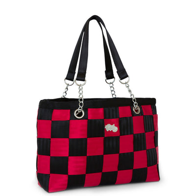 RED & BLACK CHECK Seatbelt bag, Handbags,Handbags - Non leather,  - Her Royal Flyness