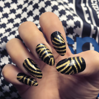 Her Royal Flyness Nail wraps, black and gold nail art, gold glitter nails