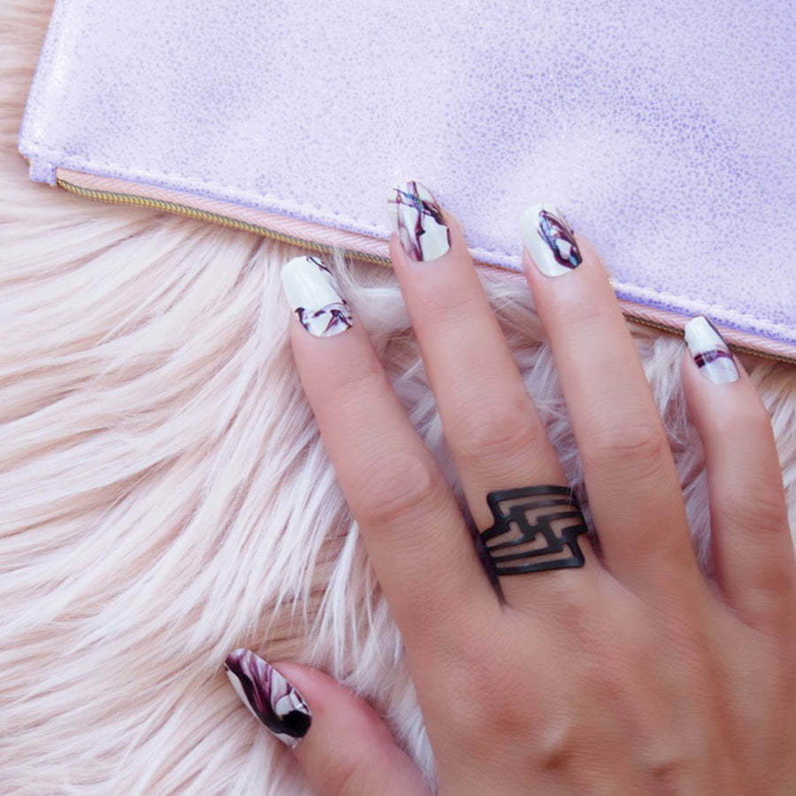 White Nail art with purple clutch, Her Royal Flyness, Nail Wraps,