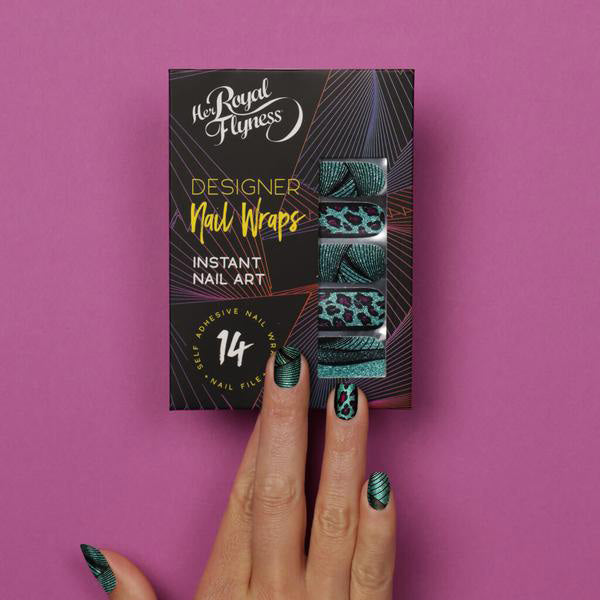Nail wraps - Her Royal Flyness leopard nail design, glitter nail art