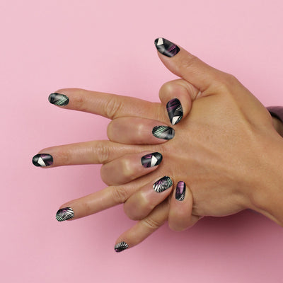 ail wraps, mesh pink green and black nail art  - Her Royal Flyness