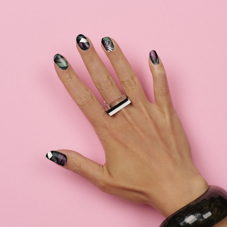 ALL MESHED UP Nail wraps, Nail wraps, mesh pink green and black nail art  - Her Royal Flyness