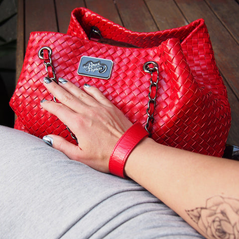 Large red woven leather tote