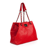 Red woven leather bag