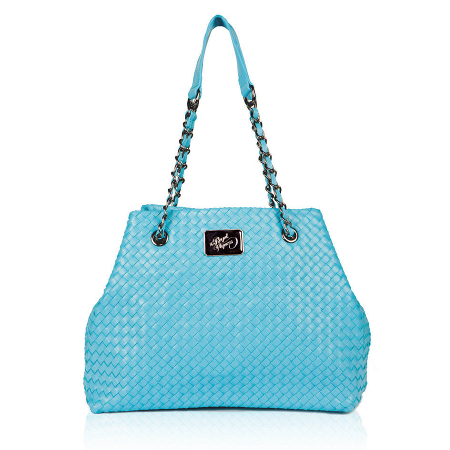 TEAL WOVEN Leather Bag, Handbags,Handbags - Tote bags,  - Her Royal Flyness