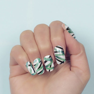 Nail wraps - Her Royal Flyness geometric nail design, white nail art