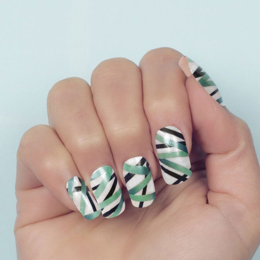 Nail wraps - Her Royal Flyness white nail art, geometric white nails