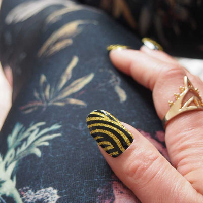 Nail wraps - Her Royal Flyness geometric nail design, gold glitter nail art