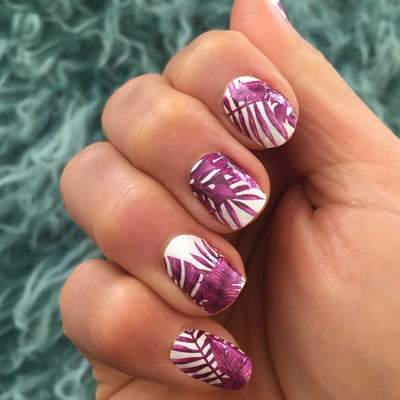 Nail wraps - Her Royal Flyness pink nail design, jungle nail art, white nails