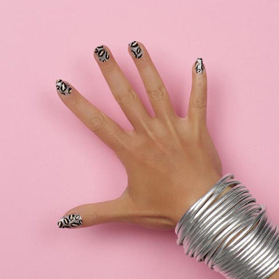 Nail wraps - Her Royal Flyness silver glitter nail art