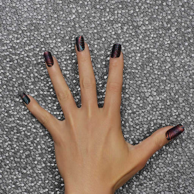 Nail wraps - Her Royal Flyness geometric nail design, glitter nail art, black nails