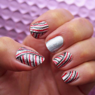 Nail wraps - Her Royal Flyness geometric nail design, glitter nail art
