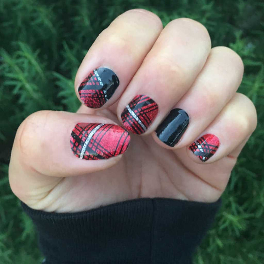 Nail wraps - Her Royal Flyness tartan glitter nail art, red nails, glitter nails