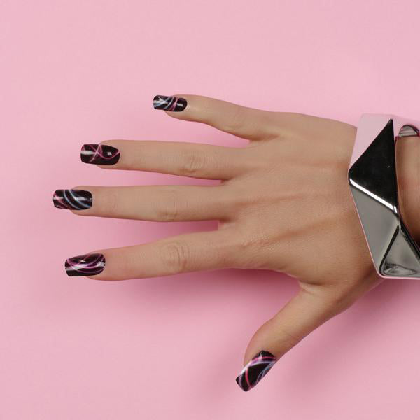 Nail wraps - Her Royal Flyness black and pink nail art