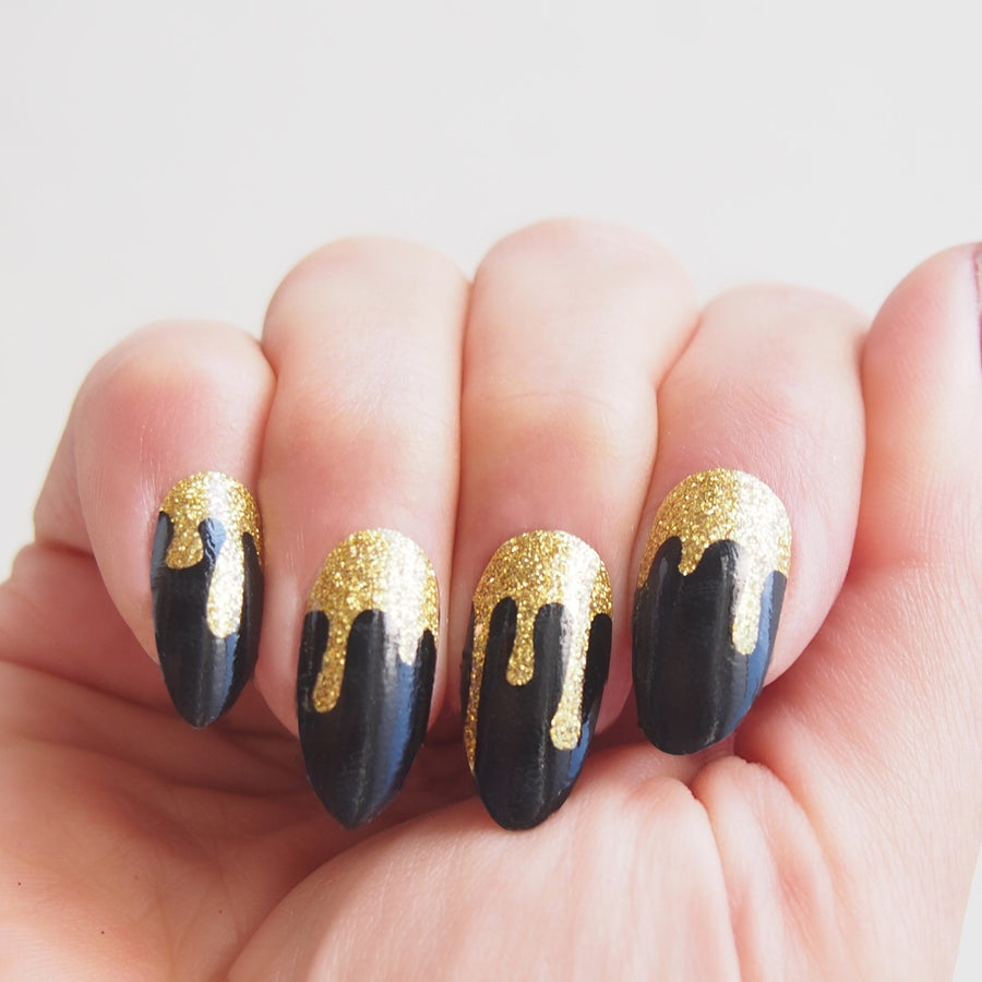 Nail wraps - Her Royal Flyness black and gold glitter nail art, glitter drip nails