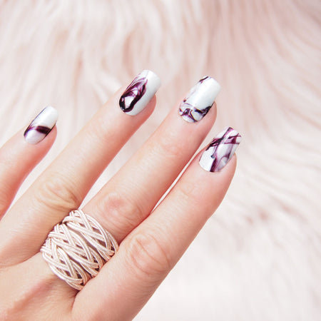 Her Royal Flyness - I WOULD DYE FOR YOU Nail wraps, marble Nail Art, white nails