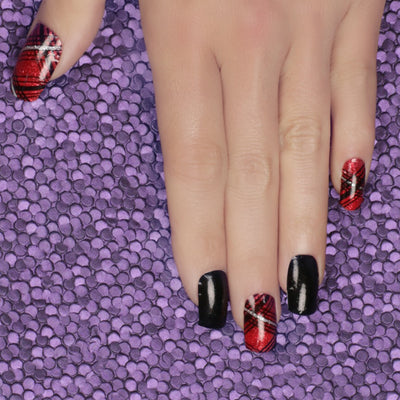Her Royal Flyness Nail wraps, red and black plaid nail art, tartan nails