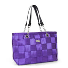 Purple with black seatbelt bag