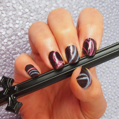Nail wraps - Her Royal Flyness black nail art, pink and black nails