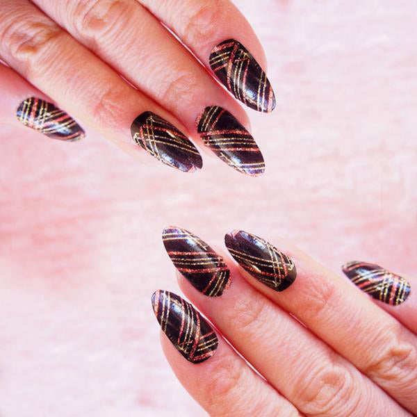 Nail wraps - Her Royal Flyness black and gold glitter nail art
