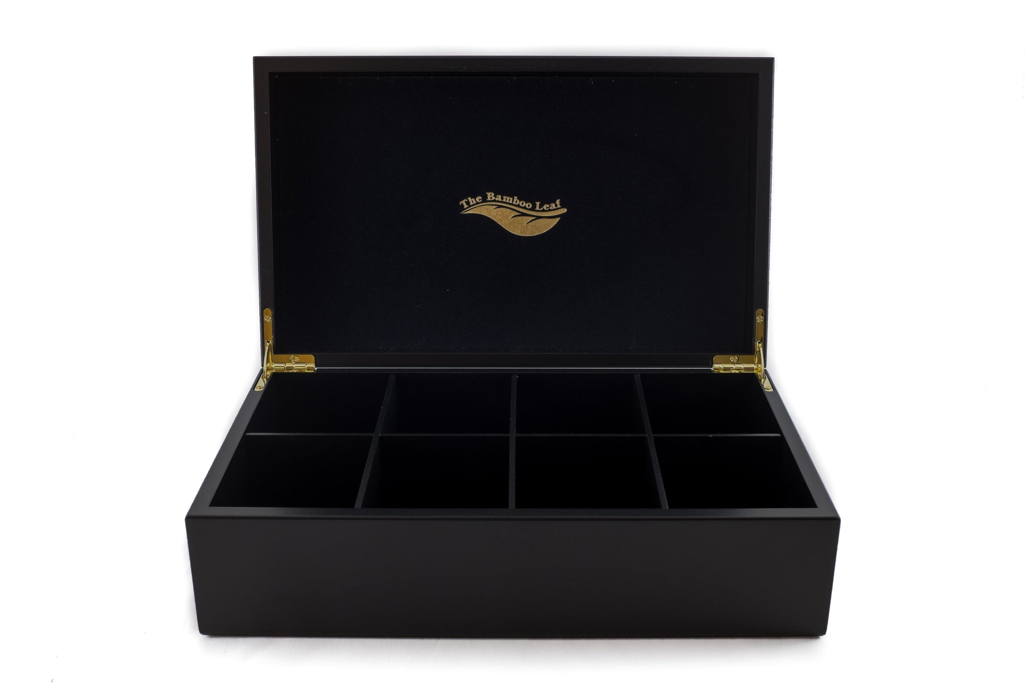 8 Compartment Wooden Tea Box Black The Bamboo Leaf