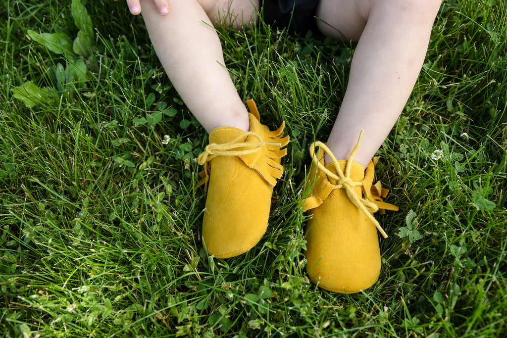 Mustard Yellow Bow Moccasins