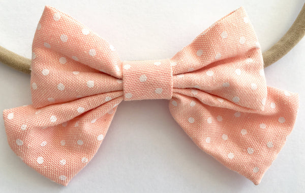 Peach Pie Dots Babette Bow Thin Headband