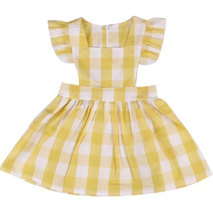 Mustard Yellow Gingham Apron Dress