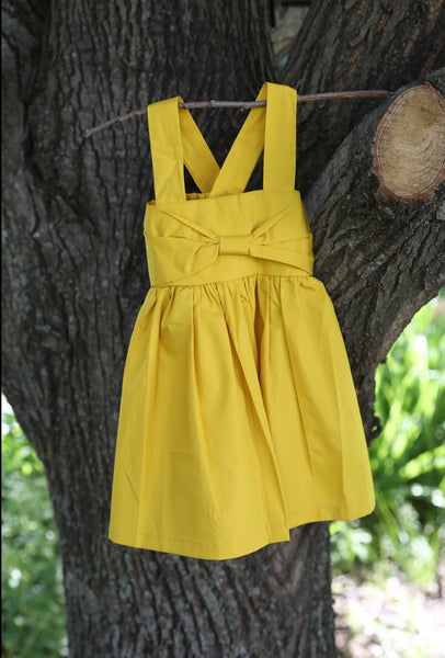 Mustard Yellow Baby Doll Bow Dress