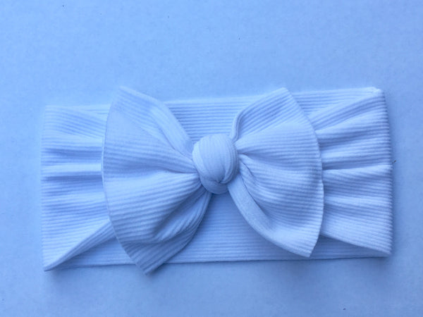 Winter White Ribbed Babette Bow