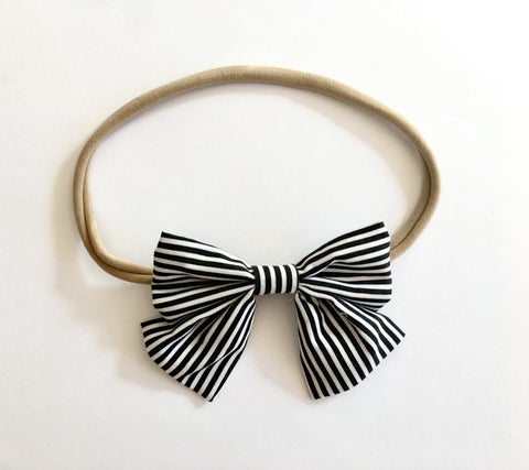 Black Stripe Babette Bow Thin Headband